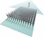 Líder conduce la empresa del grupo de personas en progreso futuro flecha