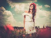 image of poppy flower  - Beautiful girl wearing white summer dress and flower chaplet in poppy filed - JPG