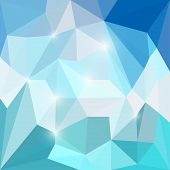 stock photo of jade blue  - Abstract bright blue colored polygonal triangular background with glaring lights for use in design for card invitation poster banner placard or billboard cover - JPG