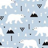 Seamless kids polar bear and geometric mountain arctic winter christmas wonderland illustration patt