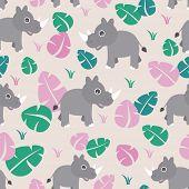 stock photo of rhino  - Seamless cute baby rhino kids illustration jungle animals background pattern in vector - JPG