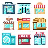 Постер, плакат: Shops and stores icons set in flat design style