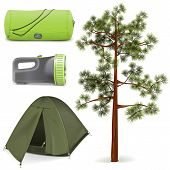 foto of sleeping bag  - Camping icons set including tent - JPG