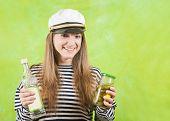 Female Sailor With Bottle Of Vodka
