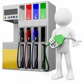 picture of petrol  - 3D worker at a gas station with a petrol pump - JPG