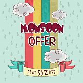 stock photo of raindrops  - Monsoon Offer with fat 50 - JPG