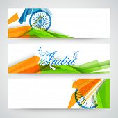 stock photo of indian independence day  - Creative website header or banner set decorated with Ashoka Wheel and national flag color abstract design for Indian Independence Day celebration - JPG