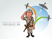 image of indian independence day  - Saluting army officer with flying airplane making national tricolors in the sky for Indian Independence Day celebration - JPG