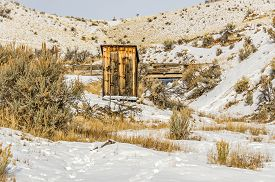 picture of outhouse  - Sunlight on an old outhouse makes it glow on a winter day - JPG