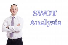 pic of swot analysis  - SWOT Analysis Young businessman with blue text isolated on white background - JPG