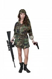 image of m16  - Beautiful young woman soldier with a M16 rifle and a pistol - JPG
