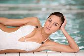 Closeup of beautiful woman in thalassotherapy and spa center