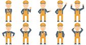 Caucasian young builder standing with arms crossed. Confident builder in hard hat. Builder in overal poster