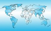 World map with all countries. Blue background