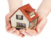 stock photo of house rent  - The house in human hands - JPG