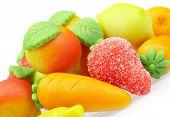 The sweets marzipan. In the form of fruit