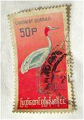 Old Postal Stamp - Burma 50 P