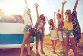 summer holidays, road trip, vacation, travel and people concept - smiling young hippie friends havin poster