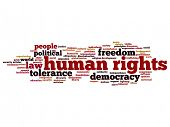 Concept or conceptual human rights political freedom or democracy abstract word cloud isolated on ba poster