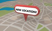 New Location Store Business Grand Opening Pin Map 3d Illustration poster