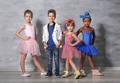 Cute funny children in dance studio poster