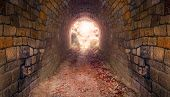 Light at end of the tunnel. Way to freedom or to heaven. Opened door from underground or grave. Hope poster