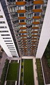 high rise residential building with communal gardens