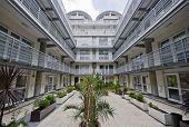 atrium of a modern multi-storey residential development