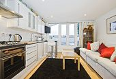 modern open plan kitchen with living area and terrace access