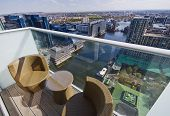 private balcony with  garden furniture and stunning views