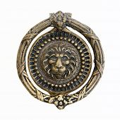 massive lion motif antique bronze door knocker
