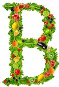 Fruit and vegetable letter B