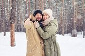 Mid shot of happy married couple in the forest. Cheer couple look embrace over a picturesque wintry  poster