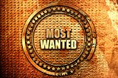 most wanted, 3D rendering, text on metal poster