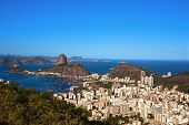 aerial view of botafogo and the sugarloaf in rio de janeiro brazil