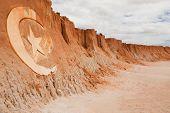 carving sign in Red beach of Canoa quebrada in ceara state brazil