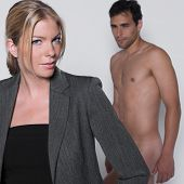 woman seductress with man naked in studio on isolated grey background poster