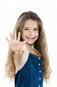 caucasian little girl portrait high-five salute isolated studio white background