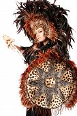 Beautiful Bohemian Woman In Leopard And Feather Native Mask And Hat With Gems And Strong Teal Eyes A