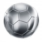 3d rendering of a soccerball in silver