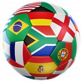 3d rendering of a soccer ball with flags of the participating countries in world cup 2010