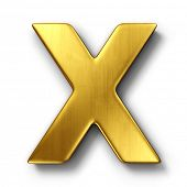 3d rendering of the letter X in gold metal on a white isolated background.