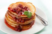sweet pancakes with strawberry jam