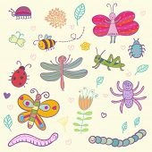 Funny insects - cute vector set
