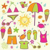 beach accessories - cute vector set