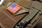 American Flag On Bulletproof Vest
