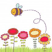 Cartoon bee flying over flowers