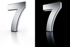 image of number 7  - 3d rendering of the number 7 in brushed metal on a white and black reflective floor - JPG