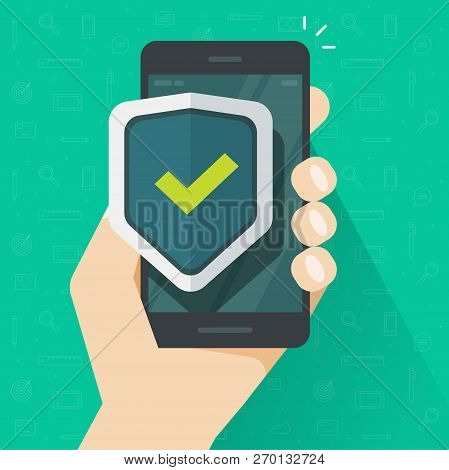 poster of Mobile Phone Security Protection Vector Illustration, Flat Cartoon Smartphone Protected With Shield