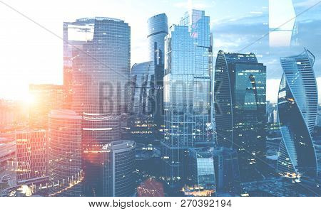 Moscow City Panoramic View With